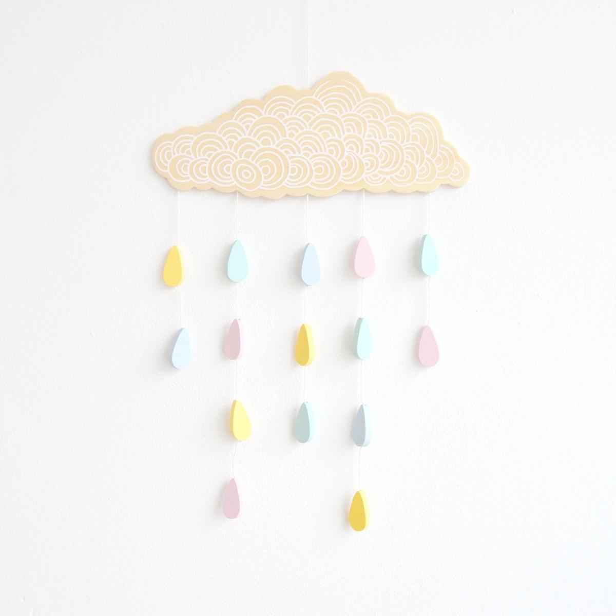 decorative wooden rain cloud mobile