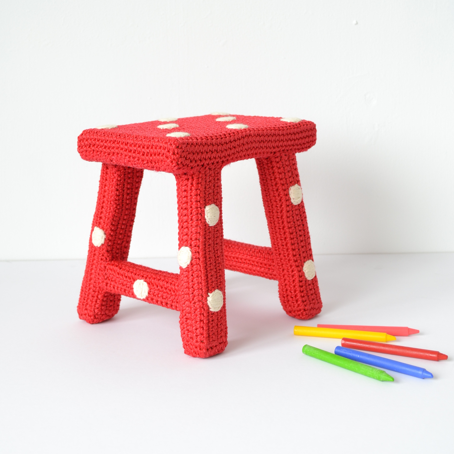 crochet covered, dotty stool