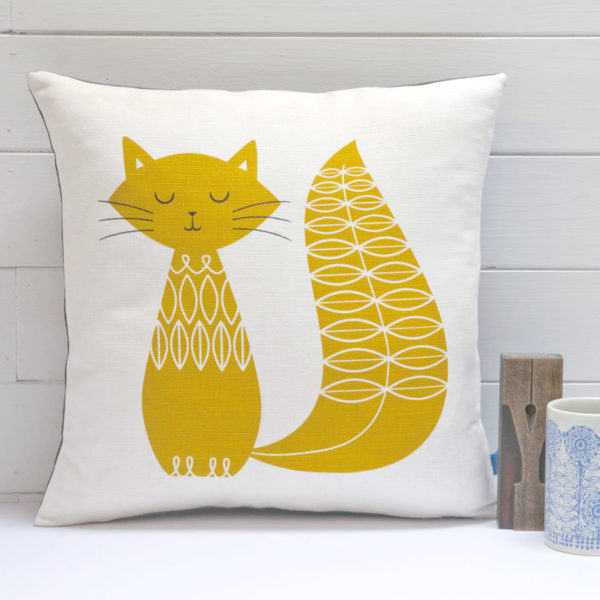 cat cushion mustard
