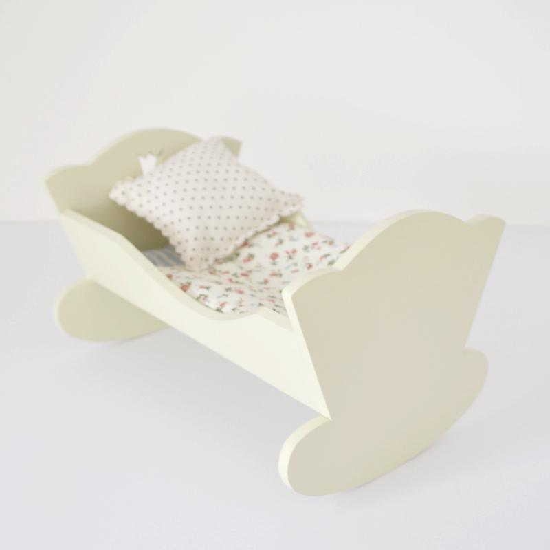 wooden toy cradle