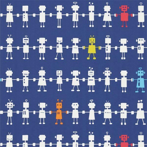 Reggie Robot navy wallpaper