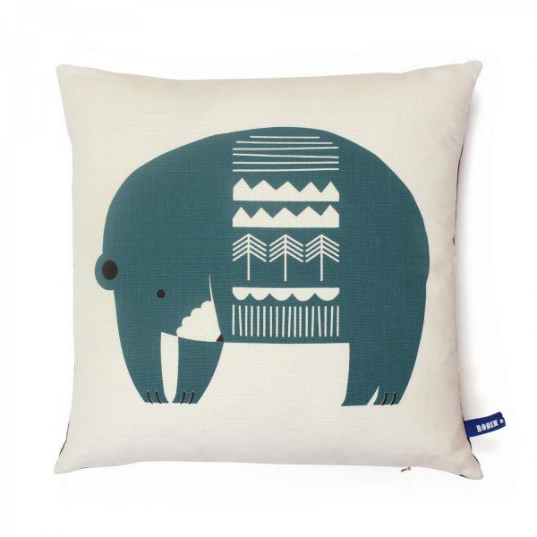 robinandmould bear cushion teal