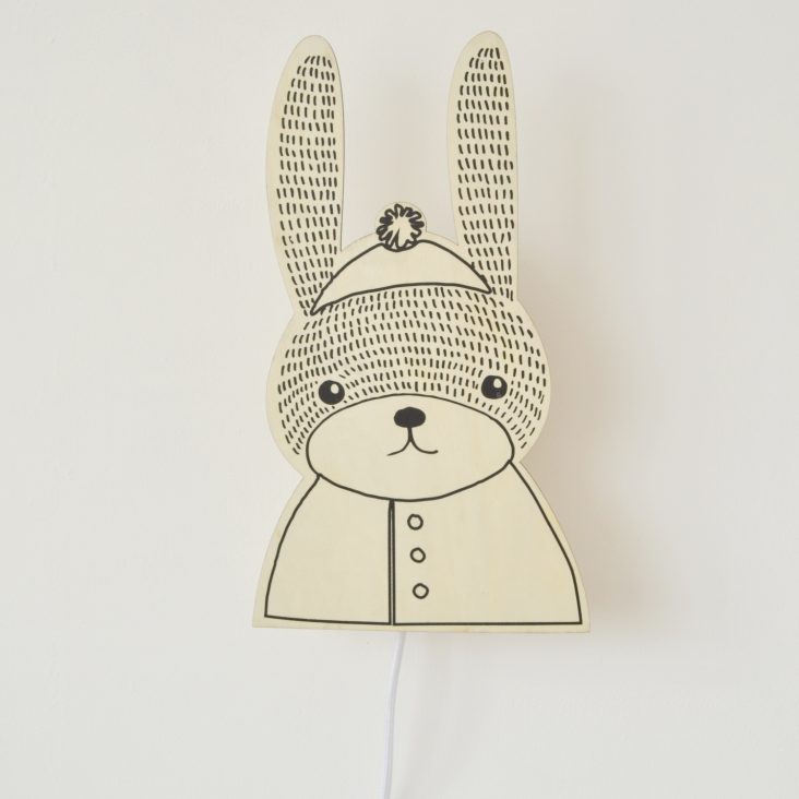 plywood bunny wall lamp
