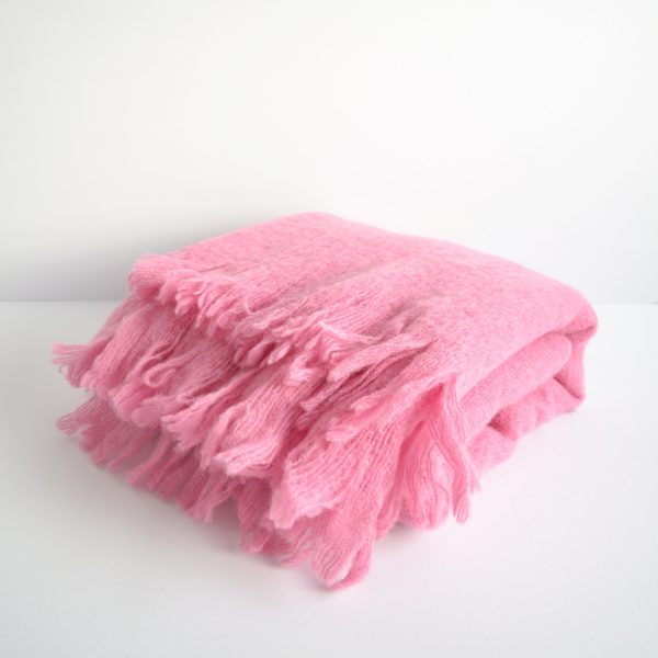 mohair/wool mix pink throw