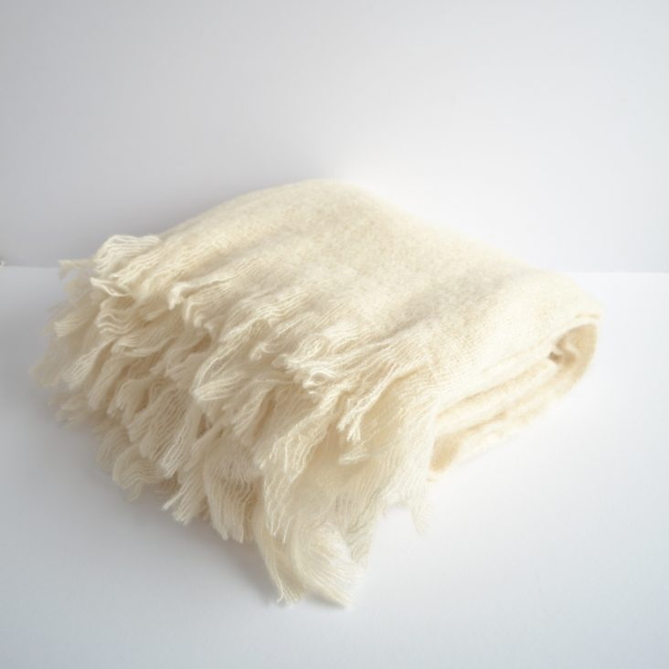 linum mohair/wool throw in winter white
