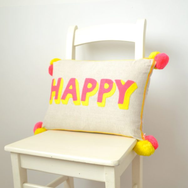 Cotton 'Happy' cushion
