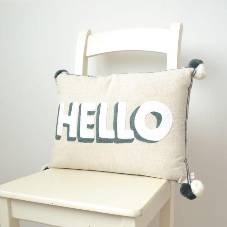 Cotton canvas 'Hello' cushion