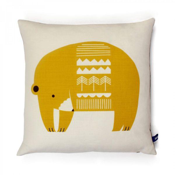 hand-printed bear cushion