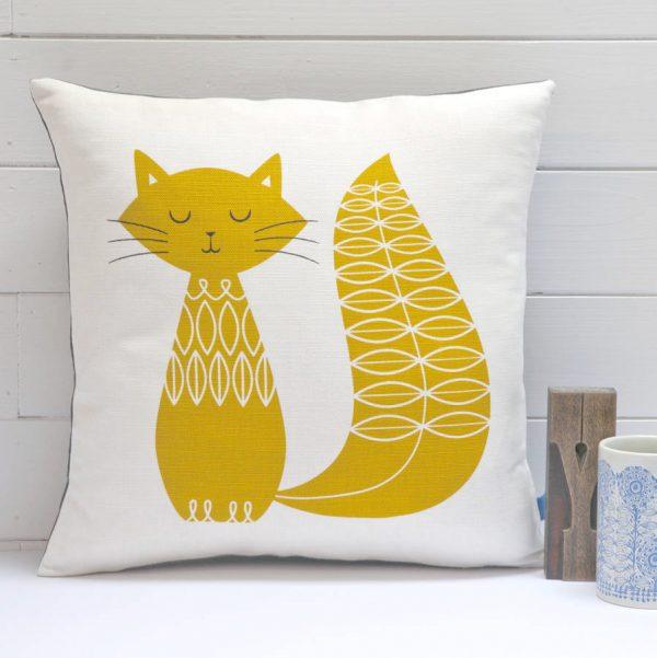 hand-printed cat motif cushion