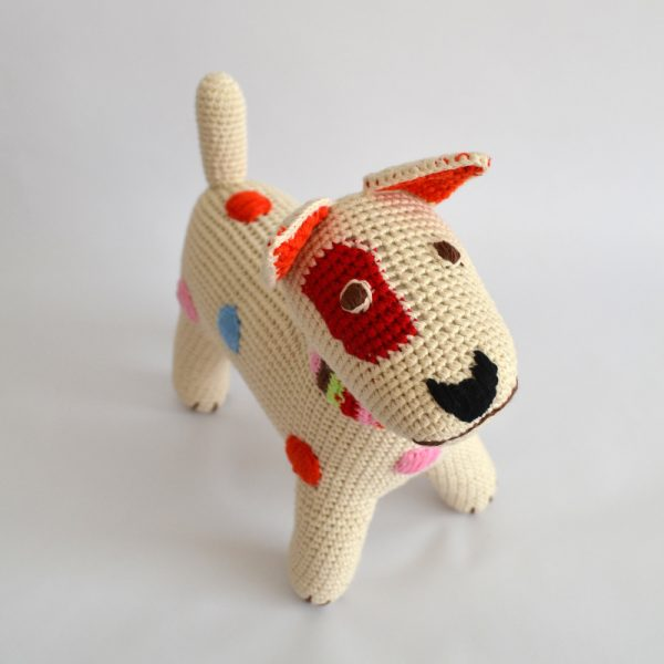hand-crocheted dotty terrier dog toy