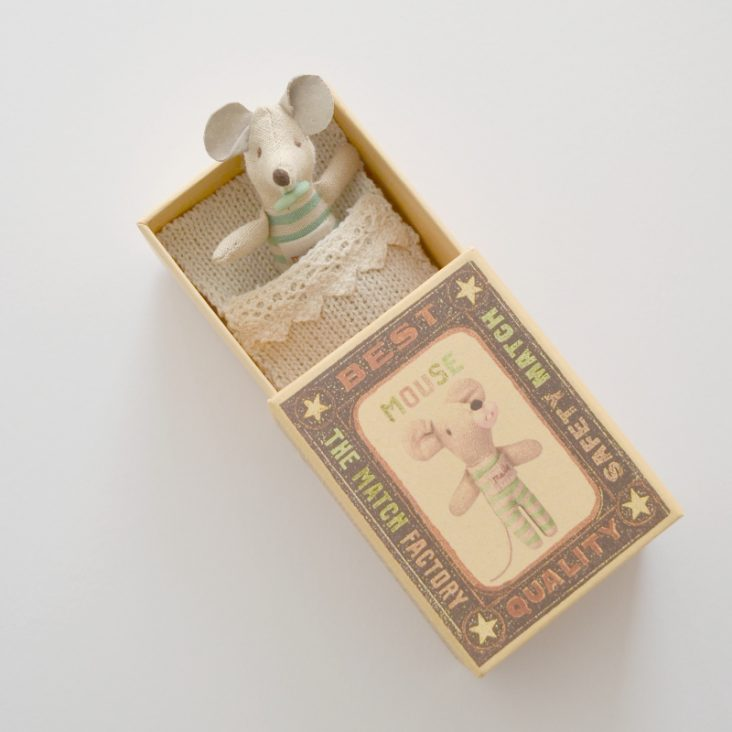 Maileg Baby Mouse in a Matchbox